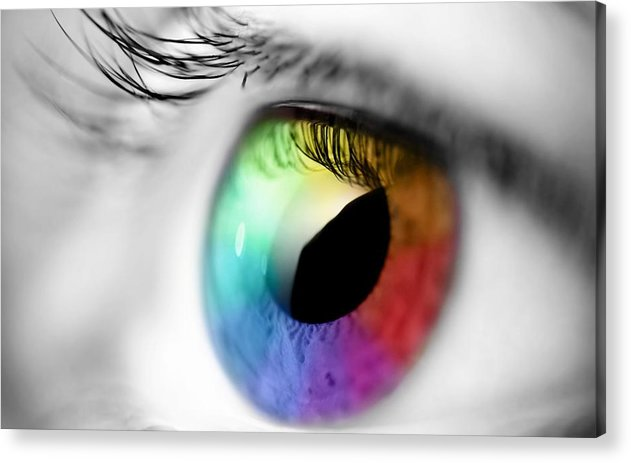 Acrylic Print featuring the glass art Rainbow Eye by Rajeshmegi Megi