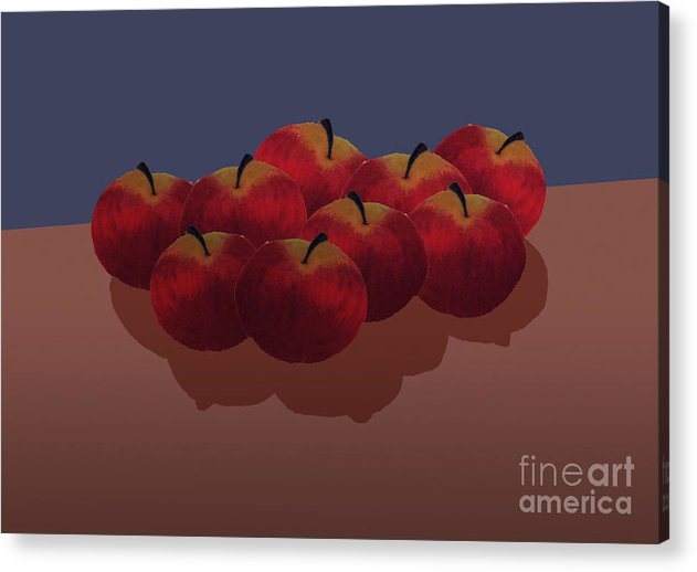 Red Apples Acrylic Print featuring the painting Red Apples by Isusko Goldaraz