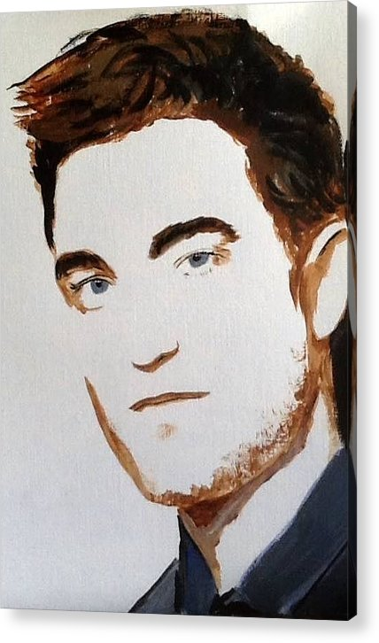 Robert Pattinson Famous Faces Actor Movies Filmstar Popular People Painting Acrylic Print featuring the painting Robert Pattinson 215 by Audrey Pollitt