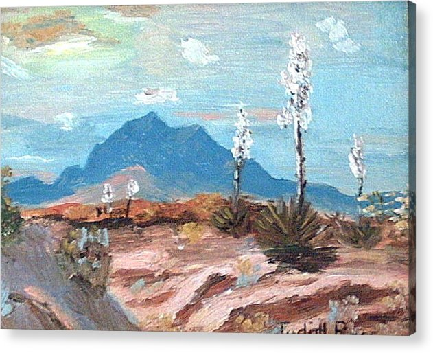 Acrylic Print featuring the mixed media Santa Rita Mts. Near Tucson Arizona by Judi Pence