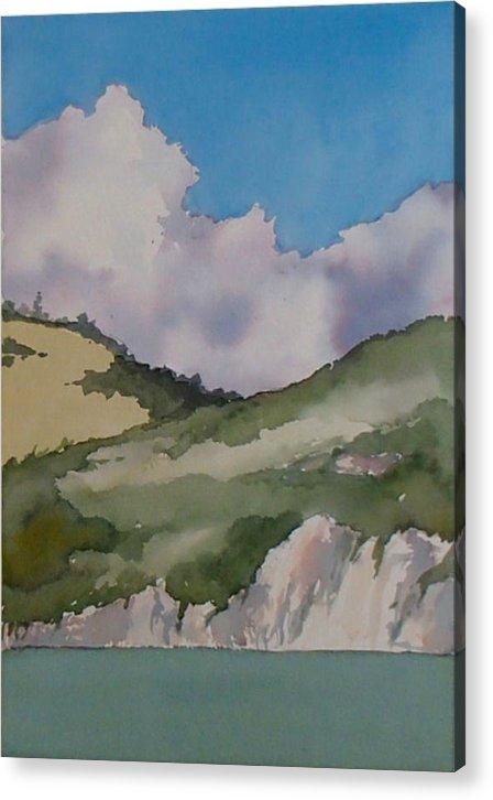 Shell Beach Acrylic Print featuring the painting Shell Beach Cliffs by Philip Fleischer