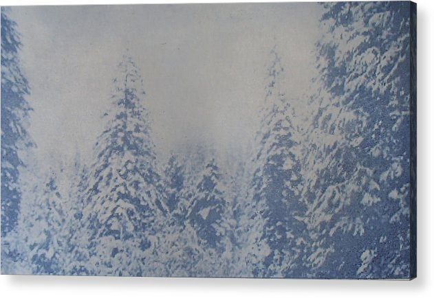 Yosemite Acrylic Print featuring the painting Snowfall in Blue by Philip Fleischer