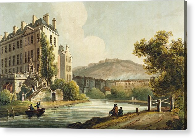 Bath Acrylic Print featuring the drawing South Parade From Bath Illustrated by John Claude Nattes