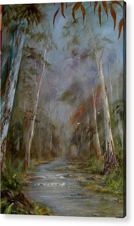 Landscape Acrylic Print featuring the painting Stony Creek by Rita Palm