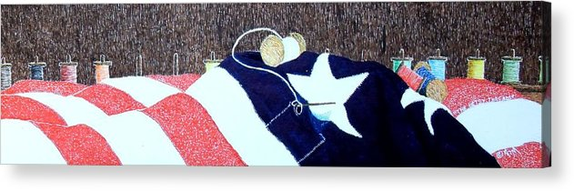 Still Life Acrylic Print featuring the painting The Betsy Threads by A Robert Malcom