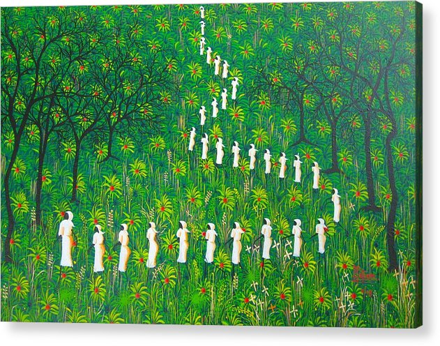 Acrylic Print featuring the painting The Green Payages By Frantz Petion by Frantz Petion