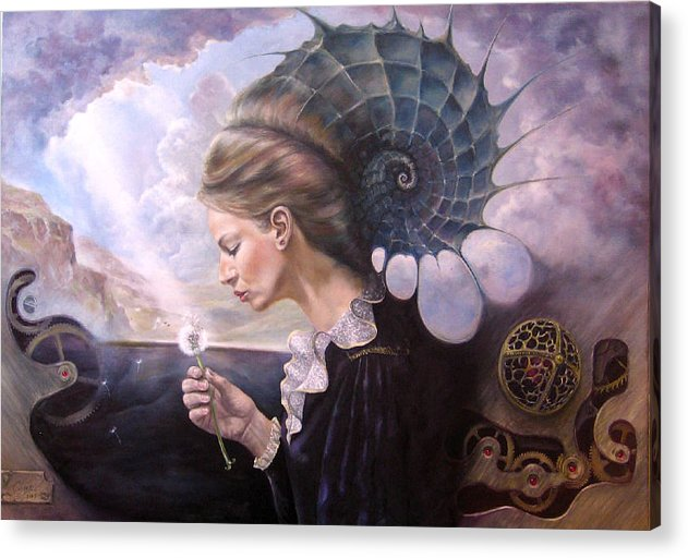 Surrealism Acrylic Print featuring the painting Till The End Of Time by Daniel Cristian Chiriac