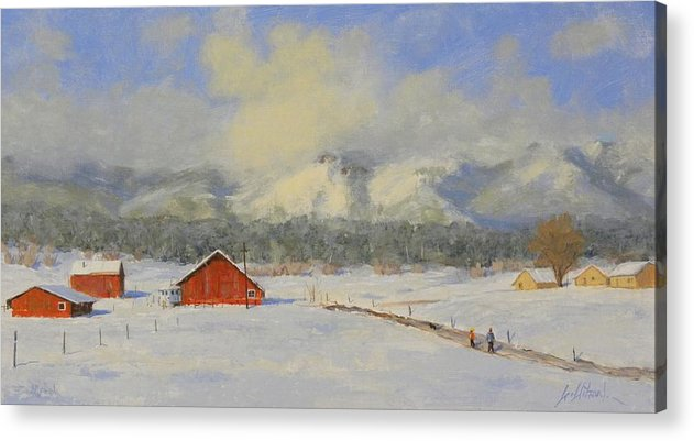 Winter Acrylic Print featuring the painting Took the long way home by Greg Clibon