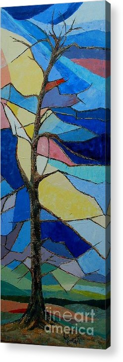 Tree With Intense Multicolored Background Acrylic Print featuring the painting Tree Intensity - Sold by Judith Espinoza
