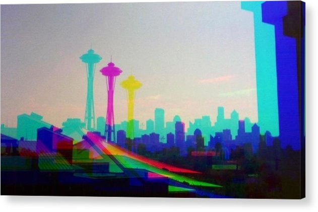 Seattle Space Needle Acrylic Print featuring the photograph Tricolor Seattle Space Needle by Eddie G