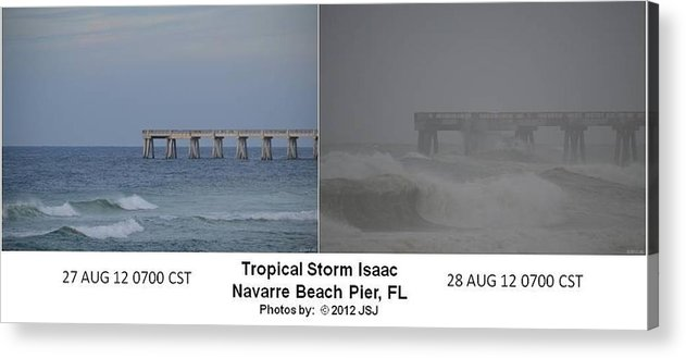 Difference Acrylic Print featuring the photograph Tropical Storm Isaac Difference In A Day by Jeff at JSJ Photography