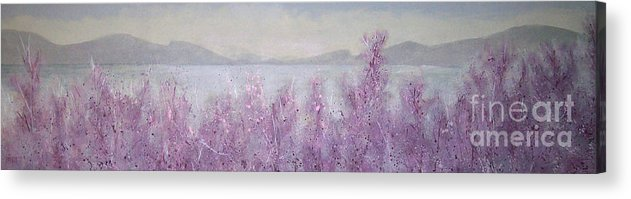 Landscape Acrylic Print featuring the painting View from Gallery Peachland by Tina Siddiqui
