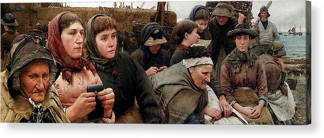 Classic Art With A Change Acrylic Print featuring the digital art Waiting For The Boats by Walter Langley
