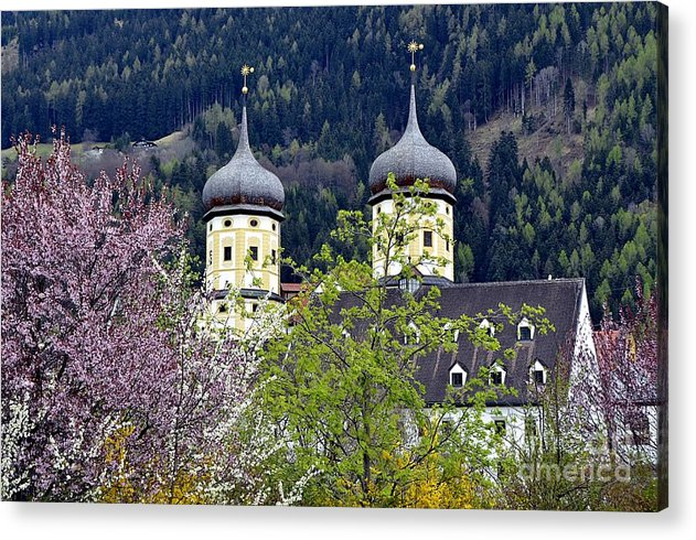 Churches Acrylic Print featuring the photograph Monastery In Tyrol by Elzbieta Fazel