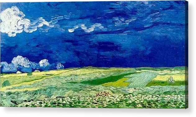 Wheat Field Under Clouded Sky Acrylic Print featuring the digital art Wheat Field Under Clouded Sky by Vincent Van Gogh