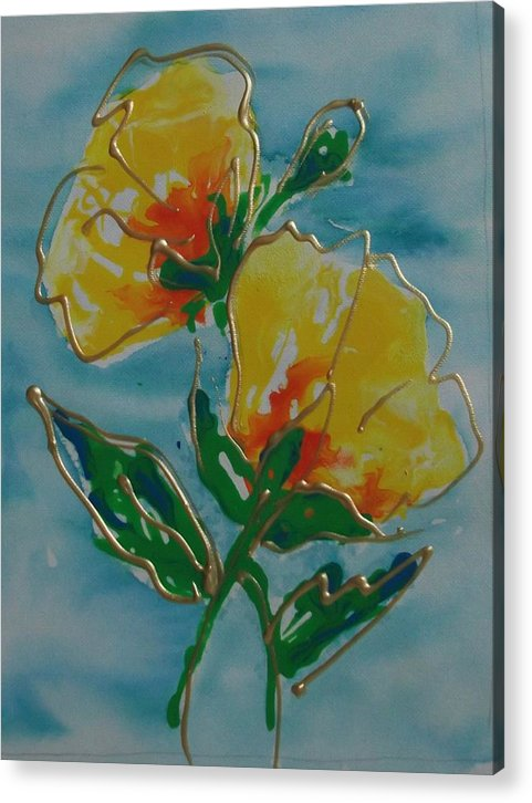 Abstract Acrylic Print featuring the painting Abstract Yellow Flower No3 by Jan Soper