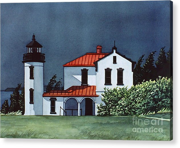 Lighthouse Acrylic Print featuring the painting Admiralty Head Light by Scott Nelson