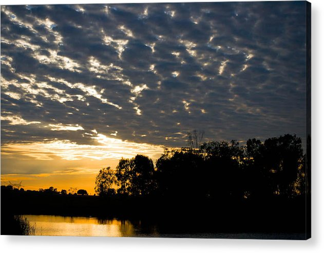 Landscape Picture Of A Sunrise. Infront Is A Dam With Tress In Background. Scattered Cloud Cover Is Showing Above. Acrylic Print featuring the photograph African Sunrise 3 by Joris Shaw