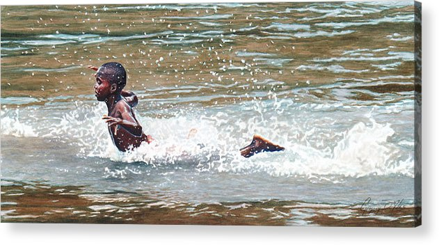 Boy Acrylic Print featuring the painting Awesome Splash by Gregory Jules