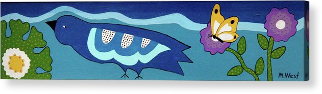 Bird Acrylic Print featuring the painting Birdy Eyeing Butterfly by Marilyn West