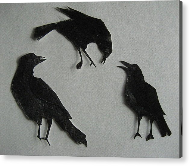 Crows Acrylic Print featuring the painting Carl's Crows by Betty Pieper