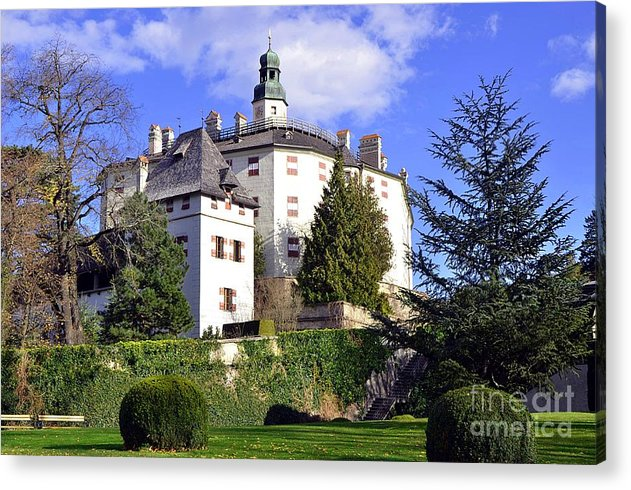 Castles Acrylic Print featuring the photograph Castle Ambras In Innsbruck by Elzbieta Fazel