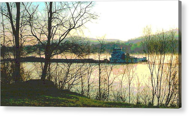 Coal Barge Acrylic Print featuring the photograph Coal Barge In Ohio River Mist by Padre Art