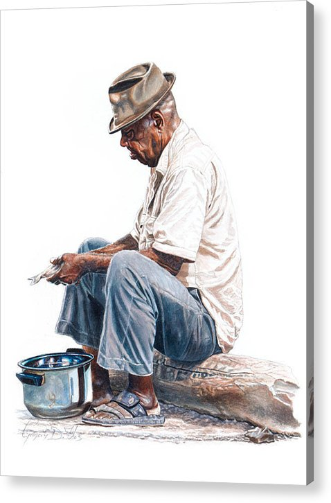 Pot Acrylic Print featuring the painting Fishy Business by Gregory Jules