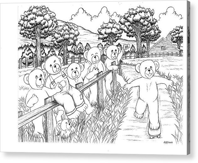 Country Bears Have A Fun Day. Acrylic Print featuring the drawing Fun Day 2 by Kristin Tan
