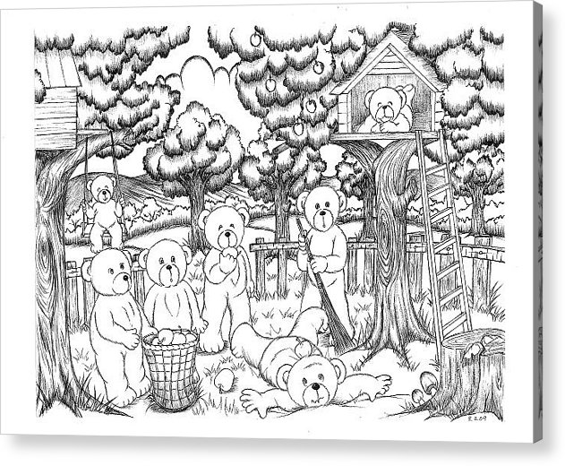 Country Bears Have A Fun Day. Acrylic Print featuring the drawing Fun Day by Kristin Tan