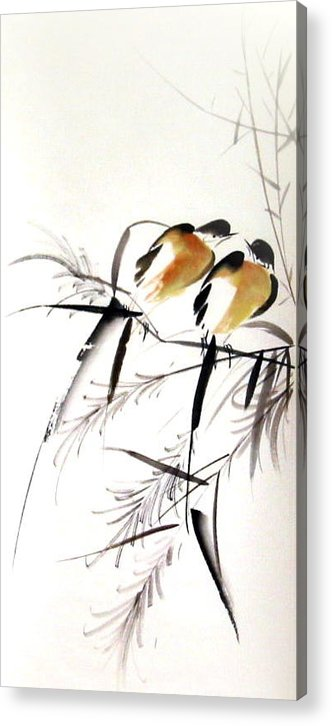 Free Style Chinese Painting Acrylic Print featuring the painting Inseparable Couple by Ming Yeung