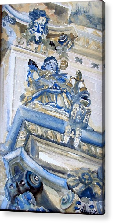 Blue Acrylic Print featuring the painting Justice by Paula Teresa