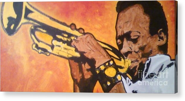 Miles Davis Acrylic Print featuring the painting Miles Davis by Sam Miller