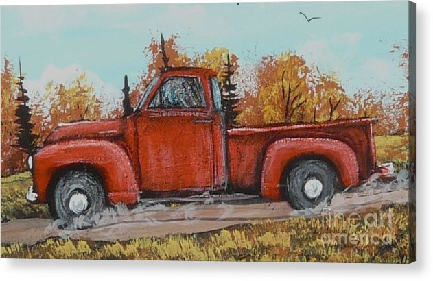 Painting Acrylic Print featuring the painting Old Red Truck Going Down The Road by Bobbylee Farrier