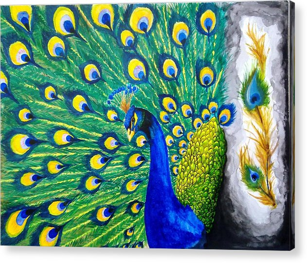 Peacock Acrylic Print featuring the painting Peacock by Swapnil Sharma