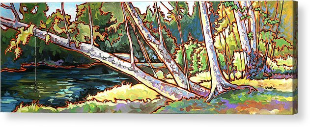 Swimming Hole Acrylic Print featuring the painting Redstone Swimmimg Hole by Nadi Spencer