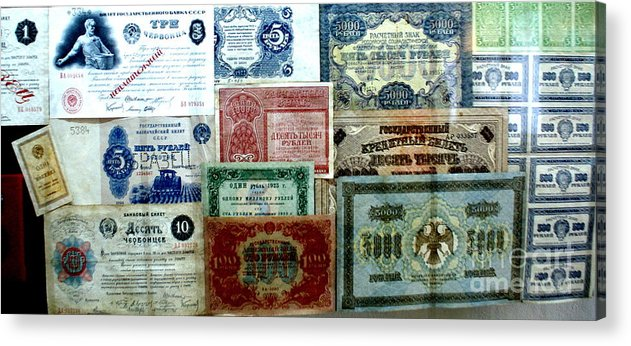 Monastry Acrylic Print featuring the photograph Soviet Currency At Euthimiev Monastry Prison Museum by Padamvir Singh
