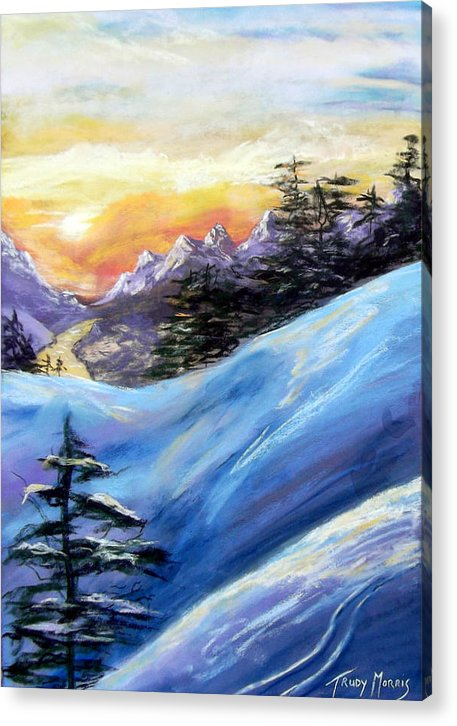 Sunset Acrylic Print featuring the painting Sunset On The Snow by Trudy Morris