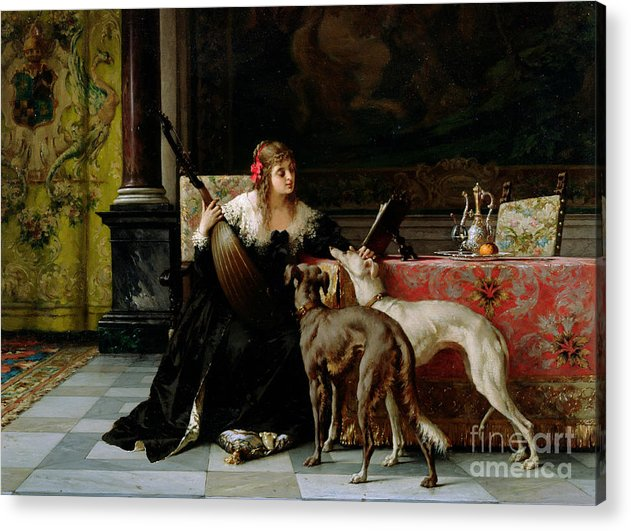 Greyhounds Affection Acrylic Print featuring the painting Sympathetic Friends by Florent Willems