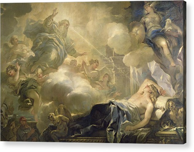 The Dream Of Solomon Acrylic Print featuring the painting The Dream Of Solomon by Luca Giordano
