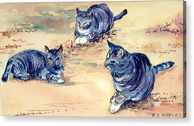 Cats Acrylic Print featuring the painting Three Cats In Dry Grass by Robert Harvey