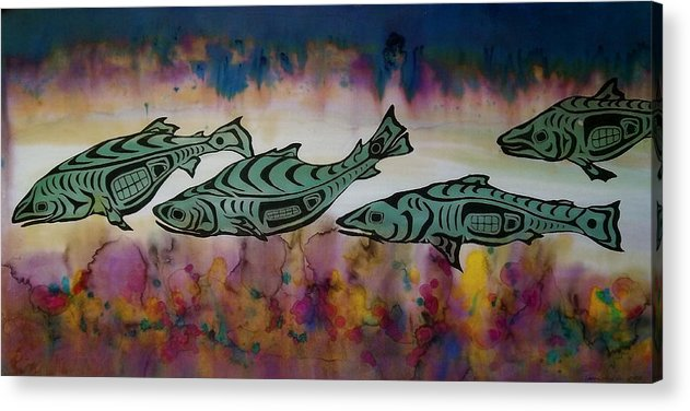Underwater Acrylic Print featuring the tapestry - textile Underwater Color by Carolyn Doe