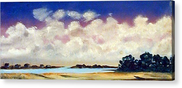 Clouds Acrylic Print featuring the painting View From Pier by Robert Harvey