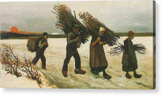 Wood Gatherers In The Snow Acrylic Print featuring the digital art Wood Gatherers In The Snow by Van Gogh