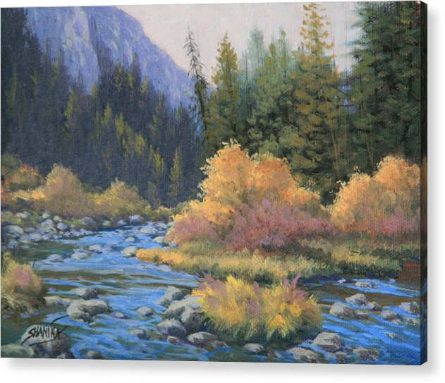 Landscape Acrylic Print featuring the painting 090917-68 Canyon Stream by Kenneth Shanika