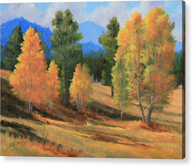 Landscape Acrylic Print featuring the painting 090922-68 Golden Moments by Kenneth Shanika