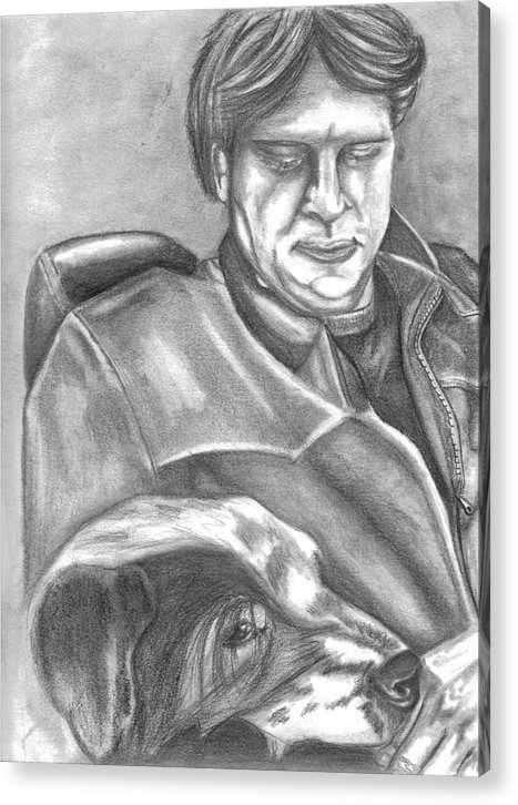 Gary Acrylic Print featuring the drawing Gary And Blue by Crystal Suppes