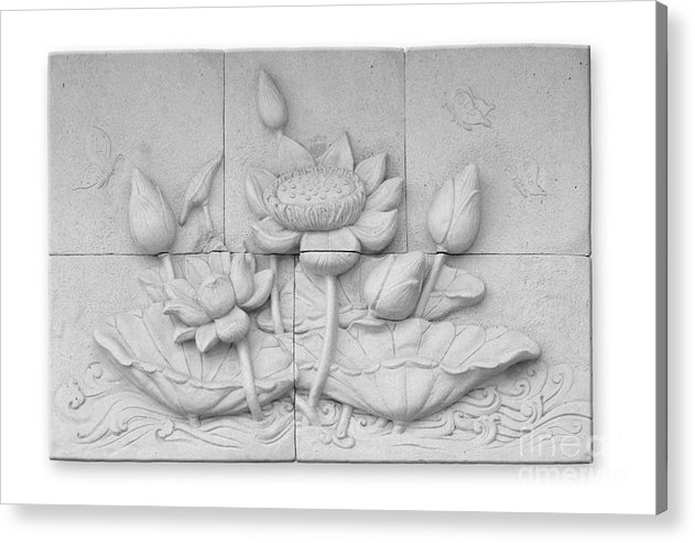 Ancient Acrylic Print featuring the relief Low Relief Cement Thai Style by Phalakon Jaisangat