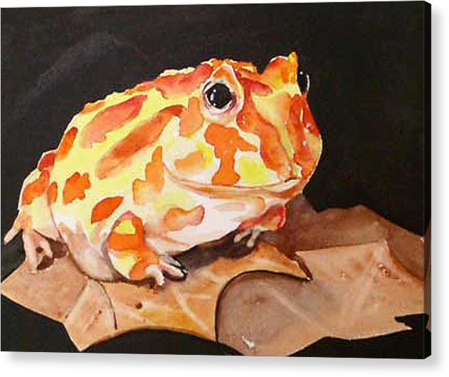 Pac Man Frog Acrylic Print featuring the painting Pac Man by Gina Hall