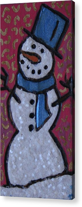 Snowman Acrylic Print featuring the mixed media Wood Burned Snowman Series by Amy Parker Evans